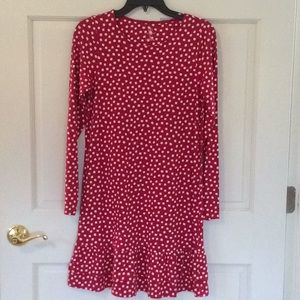 Lands' End Red & White Long Sleeve Cotton Dress